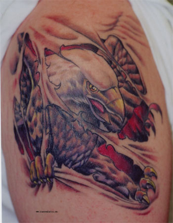 Eagle Ripped Skin Muscles Tattoo