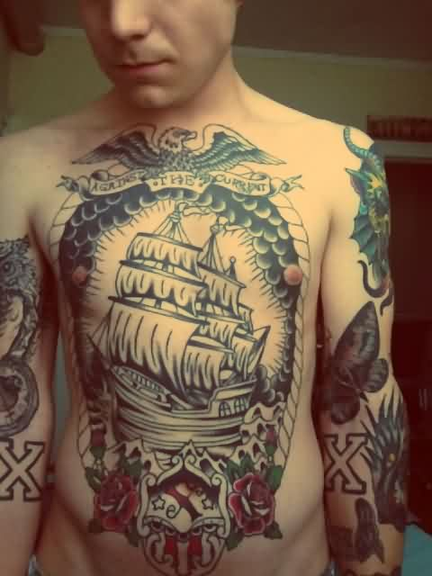 Eagle Ship And Roses Tattoos On Upper Body