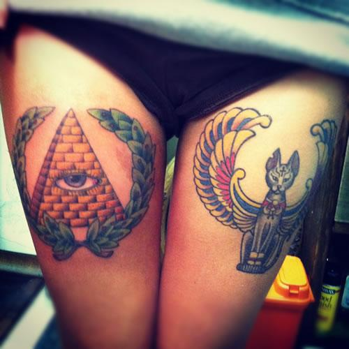 Egyptian Eye And  Cat Tattoos On Thigh