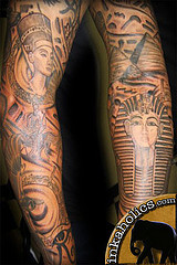 Egyptian Pyramids Mummy And Eye Tattoos On Sleeve