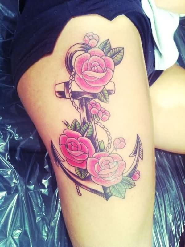 Elegant Anchor And Roses Thigh Tattoos
