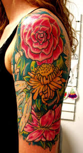 Elegant Flower Tattoos On Left Half Sleeve