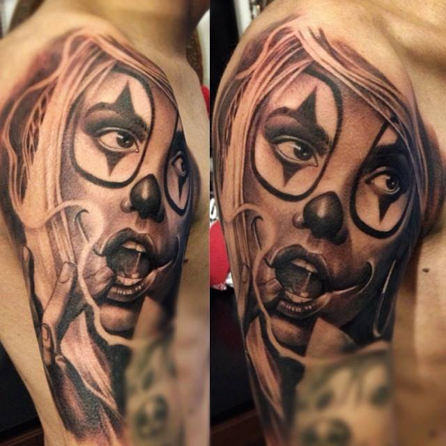 Evil Clown Girl Muscles Tattoos