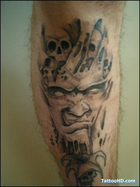 Evil Monster Tattoos On Leg