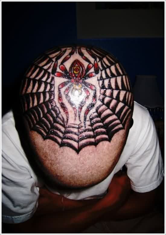 Eye Spider And Web Tattoos On Top Of Head