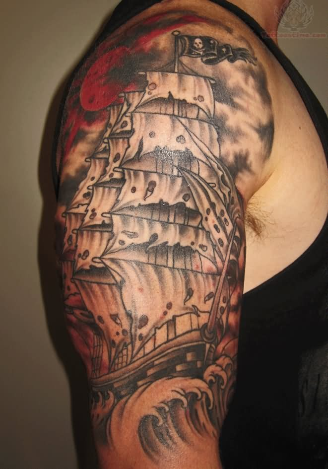Fablulous Ship And Waves Tattoos On Half Sleeve