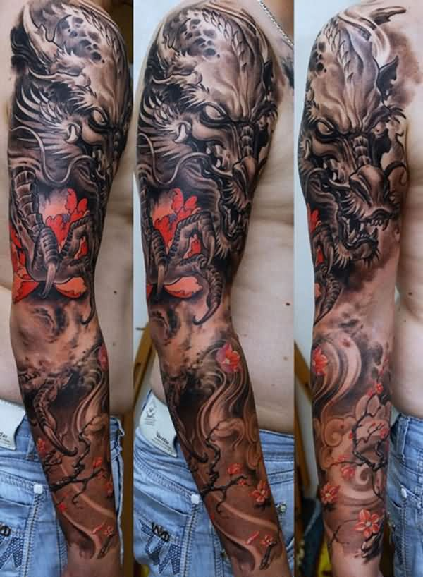 Fabulous Asian Dragon And Blossoms Sleeve Tattoos