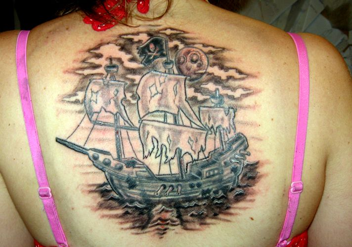 Fabulous Ghost Ship Tattoo On The Back