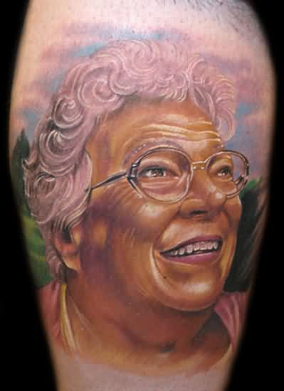 Fabulous Grandma Portrait Tattoo On Muscles