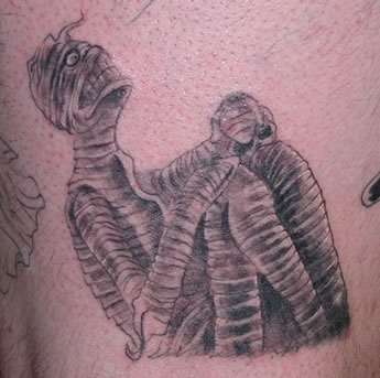 Fabulous Grey Ink Mummy Tattoo