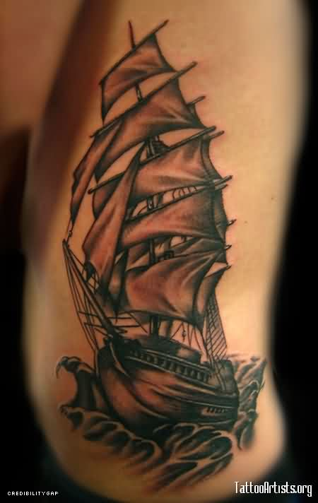 Fabulous Grey Ink Tall Ship Tattoo On Ribs