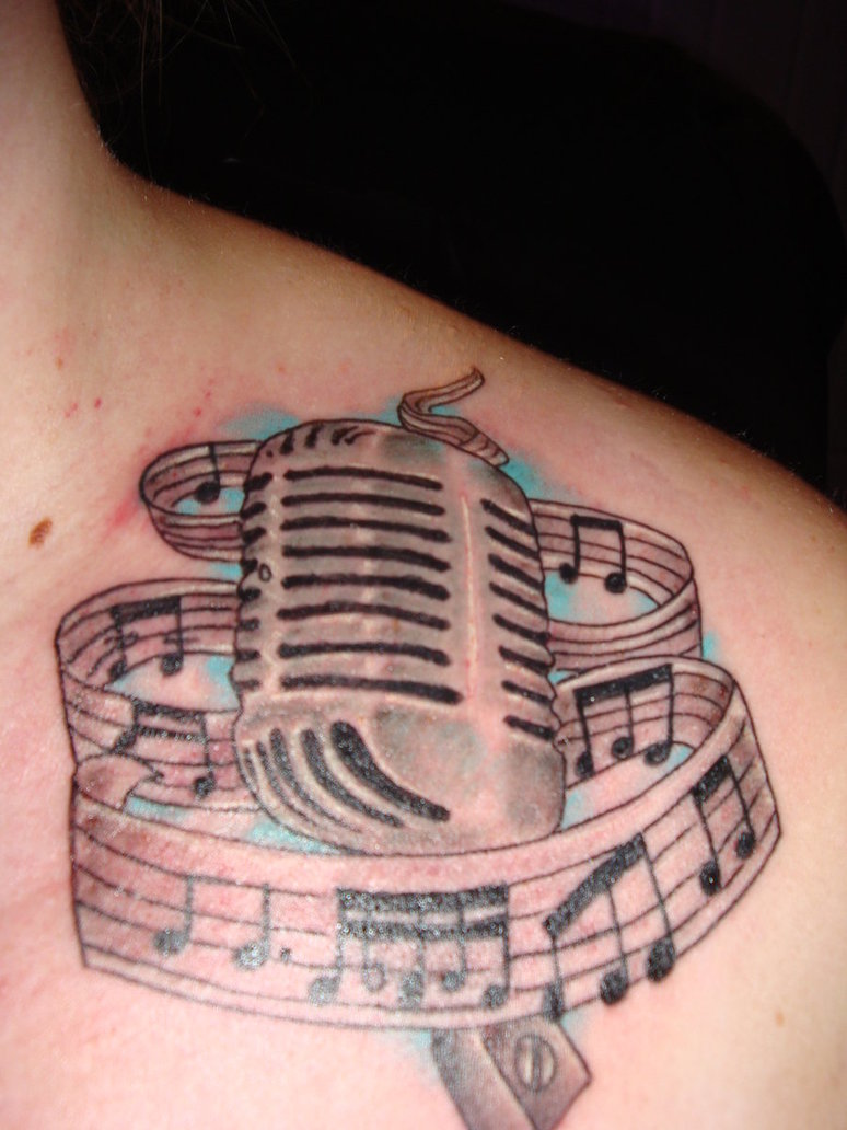 Fabulous Microphone Music Tattoo On Front
