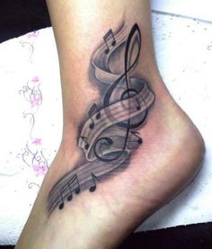 Fabulous Music Notes Tattoos On Ankle