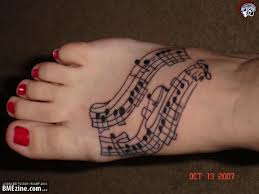 Fabulous Music Tattoos On Foot