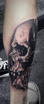 Fabulous Wicked Skull Tattoo On Right Leg