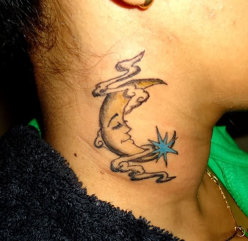 Face Moon Clouds And Blue Star Tattoos On Neck