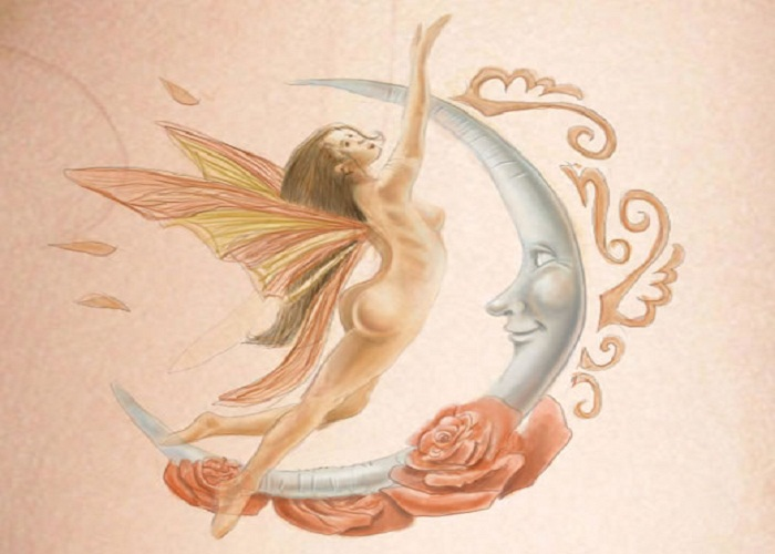 Fairy And Moon Tattoo Design