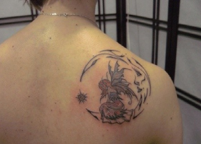Fairy And Moon Tattoos On Back Shoulder