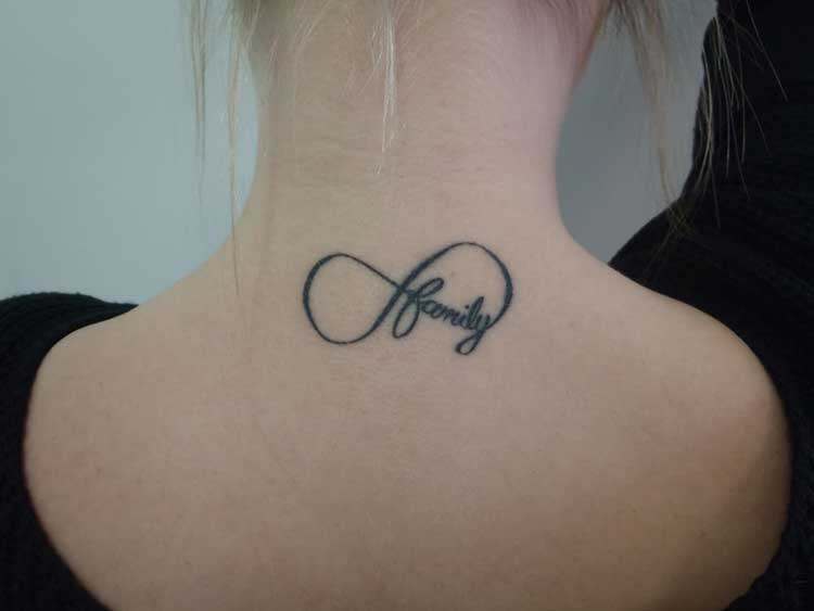 Family Infinity Symbol Neck Tattoo
