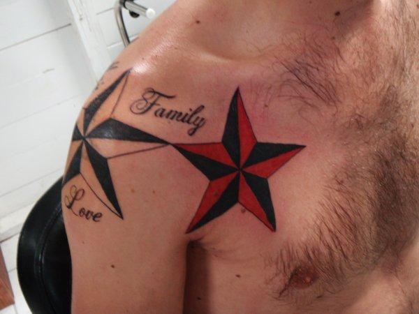 Family Love Nautical Star Tattoos On Shoulder