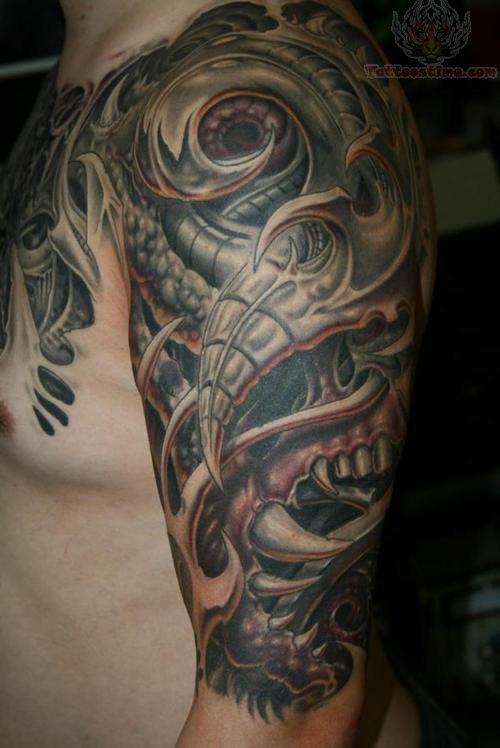 Fantastic Biomechanical Muscles Tattoos For Men