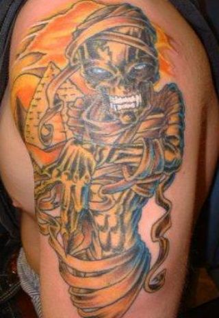 Fantastic Egyptian Mummy Tattoo On Biceps