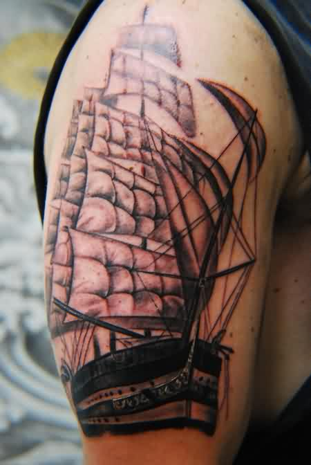 Fantastic Ship Tattoo On Upper Arm