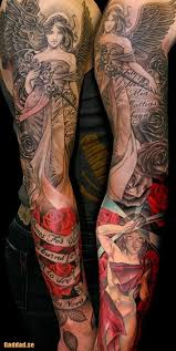Female Angel And Roses Sleeve Tattoos