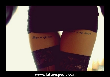 Female Thigh Quotes Tattoos
