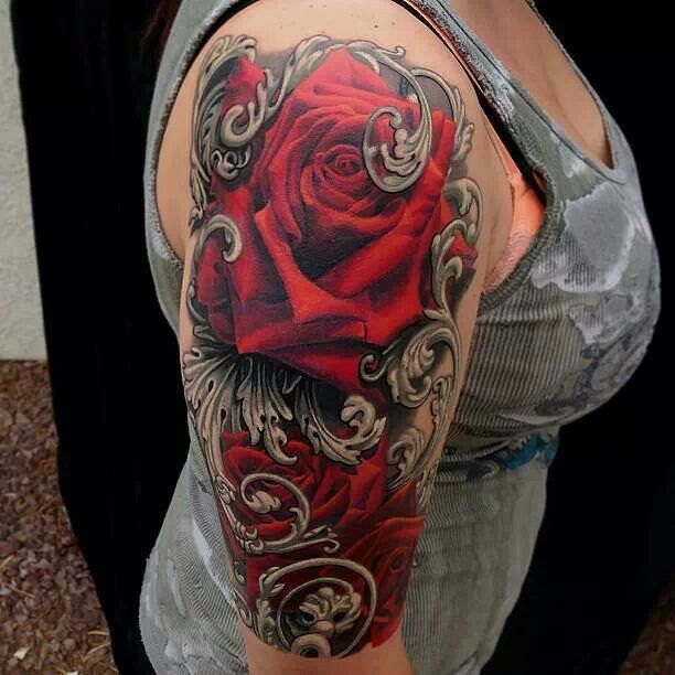Feminine Red Roses Half Sleeve Tattoos