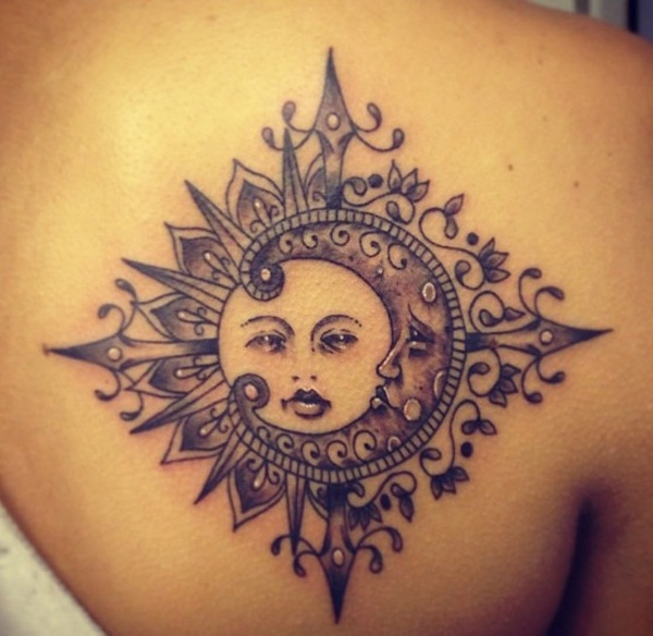 Feminine Sun And Moon Tattoo