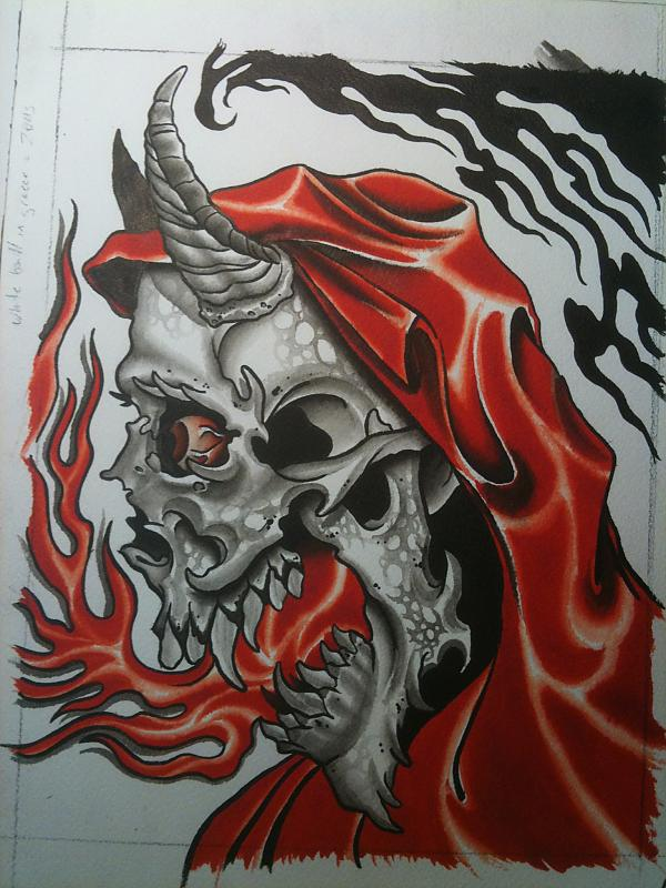 Fire Breathing Devil Skull Tattoo Design