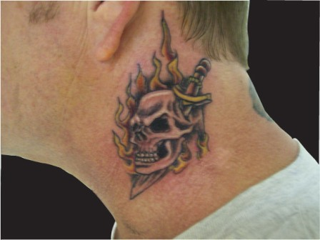 Flames And Dagger Skull Neck Tattoos