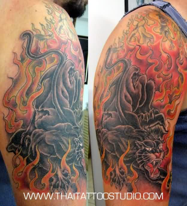 Flames And Panther Half Sleeve Tattoos