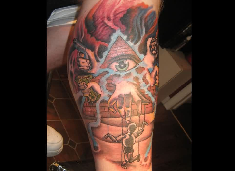 Flames Pyramid Eye And Sports Tattoos