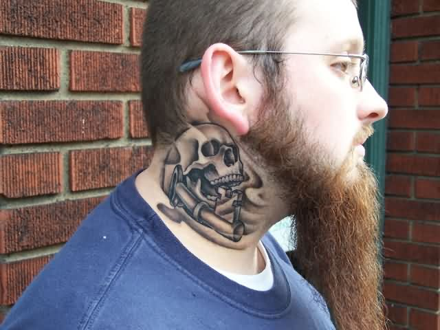 Flames Skull Key Side Neck Tattoos
