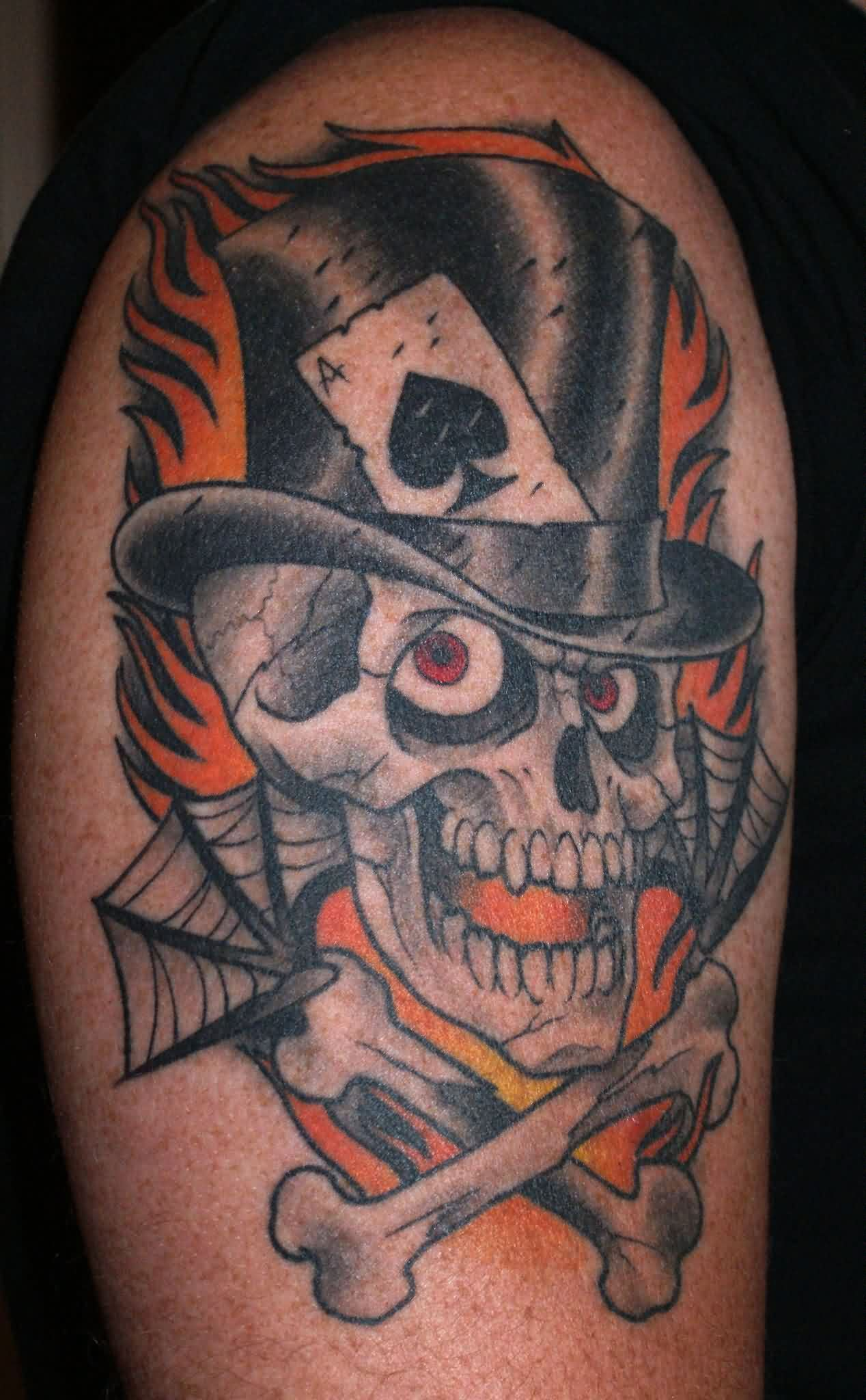 Flames Top Hat Skull And Cross Bones Tattoos