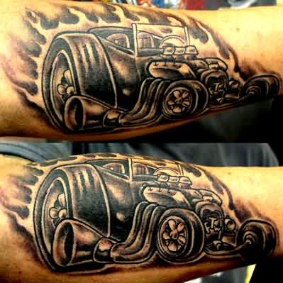 Flaming Hot Rod Car Muscles Tattoos