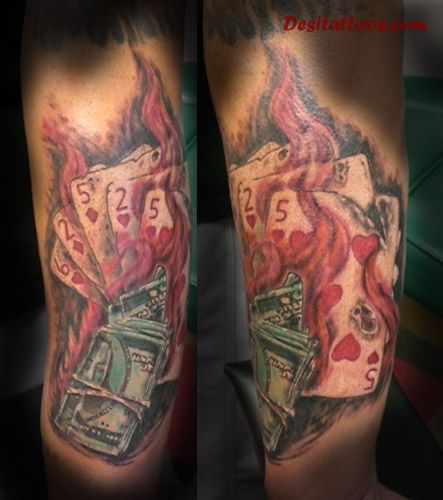 Flaming Playing Cards And Money Tattoos