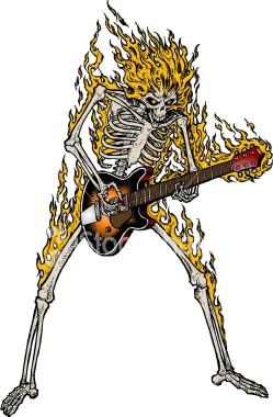 Flaming Skeleton Playing Guitar Tattoo Design