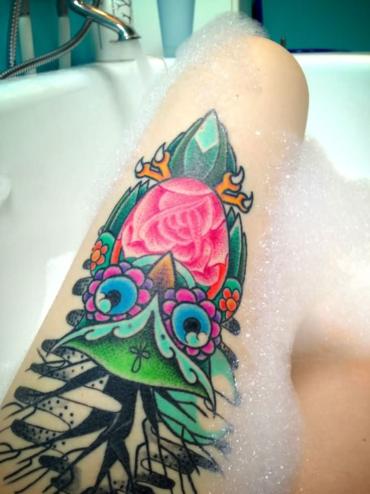 Floral Owl Thigh Tattoos