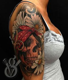 Floral Skull Tattoo On Right Half Sleeve