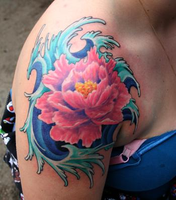 Flower And Blue Ocean Waves Tattoos For Girls And Women
