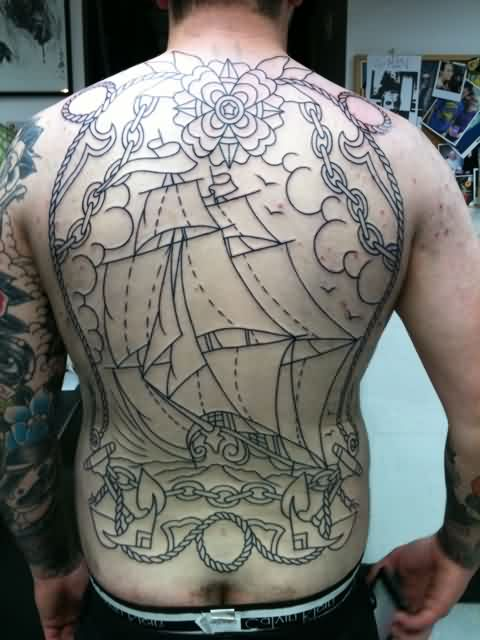 Flower Ship And Anchor Outline Tattoos On Back