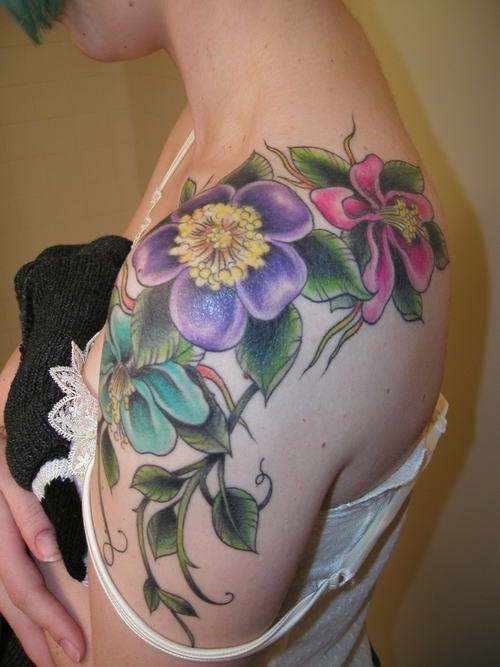 Flower Vine Tattoo On Left Shoulder