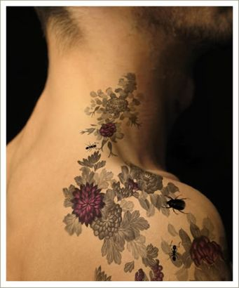 Flower Vine Tattoo On Right Shoulder