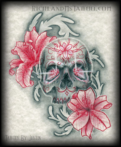 Flowered Skull Tattoo Print