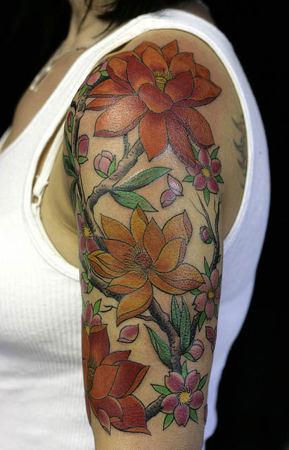 Flowers And Blossoms Half Sleeve Tattoos