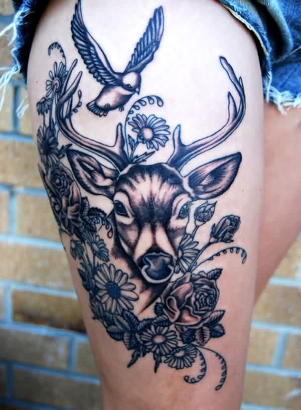 Flowers And Deer Head Tattoos On Thigh
