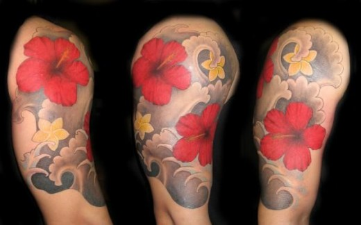 Flowers And Waves Half Sleeve Tattoos